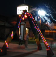Bubble Tower at night in Bassett, Nebraska
