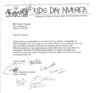 Letter from Kid's Day America