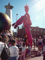 "Pinkee is ""on the ball"" at the 2004 Race for the Cure in Denver, CO"