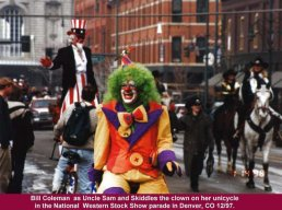 Uncle Sam and Skiddles the Clown at the Stock Show Parade