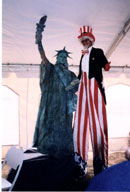Paul Borrillo as Miss Liberty with Stretch as Uncle Sam.